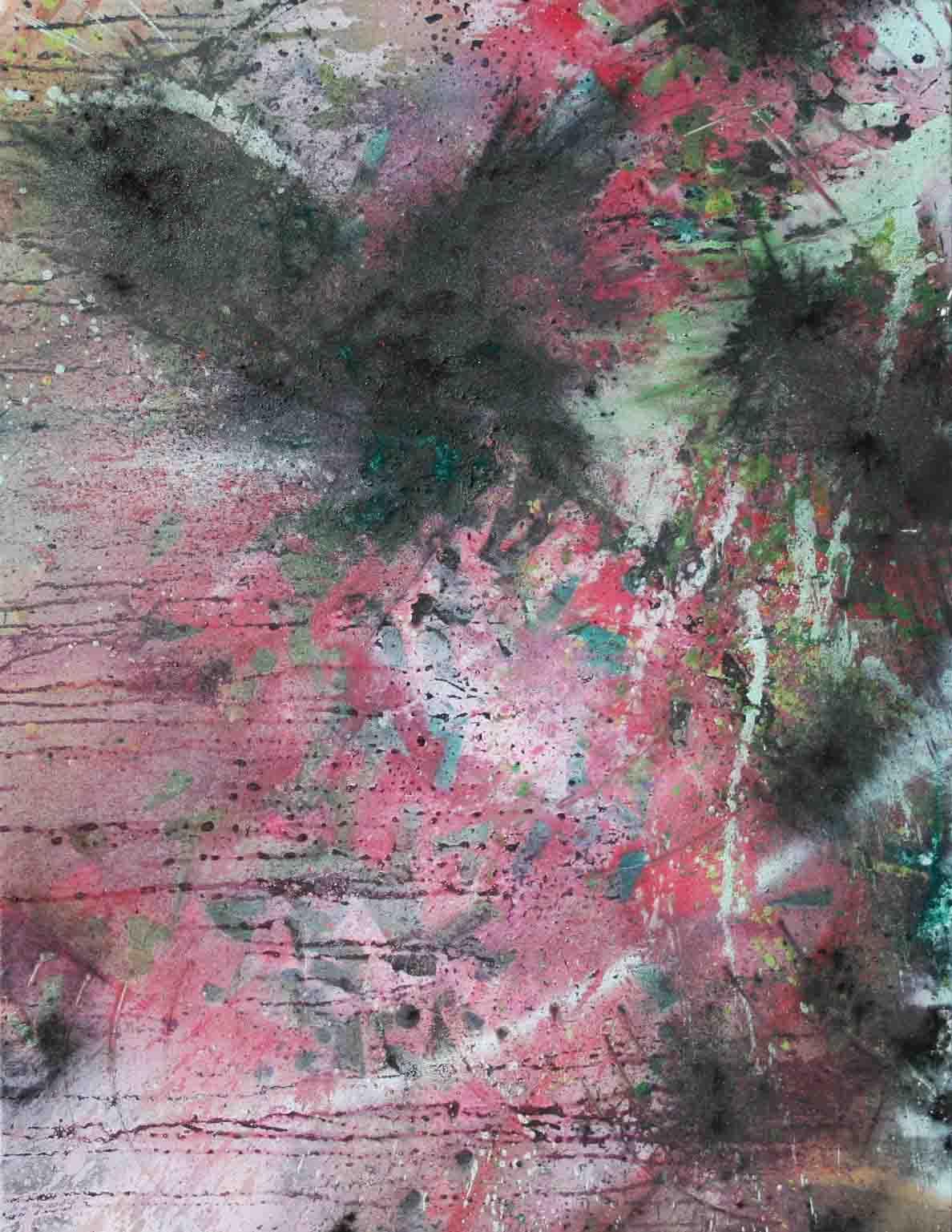 tableau abstrait panorama colérique en rose et vert