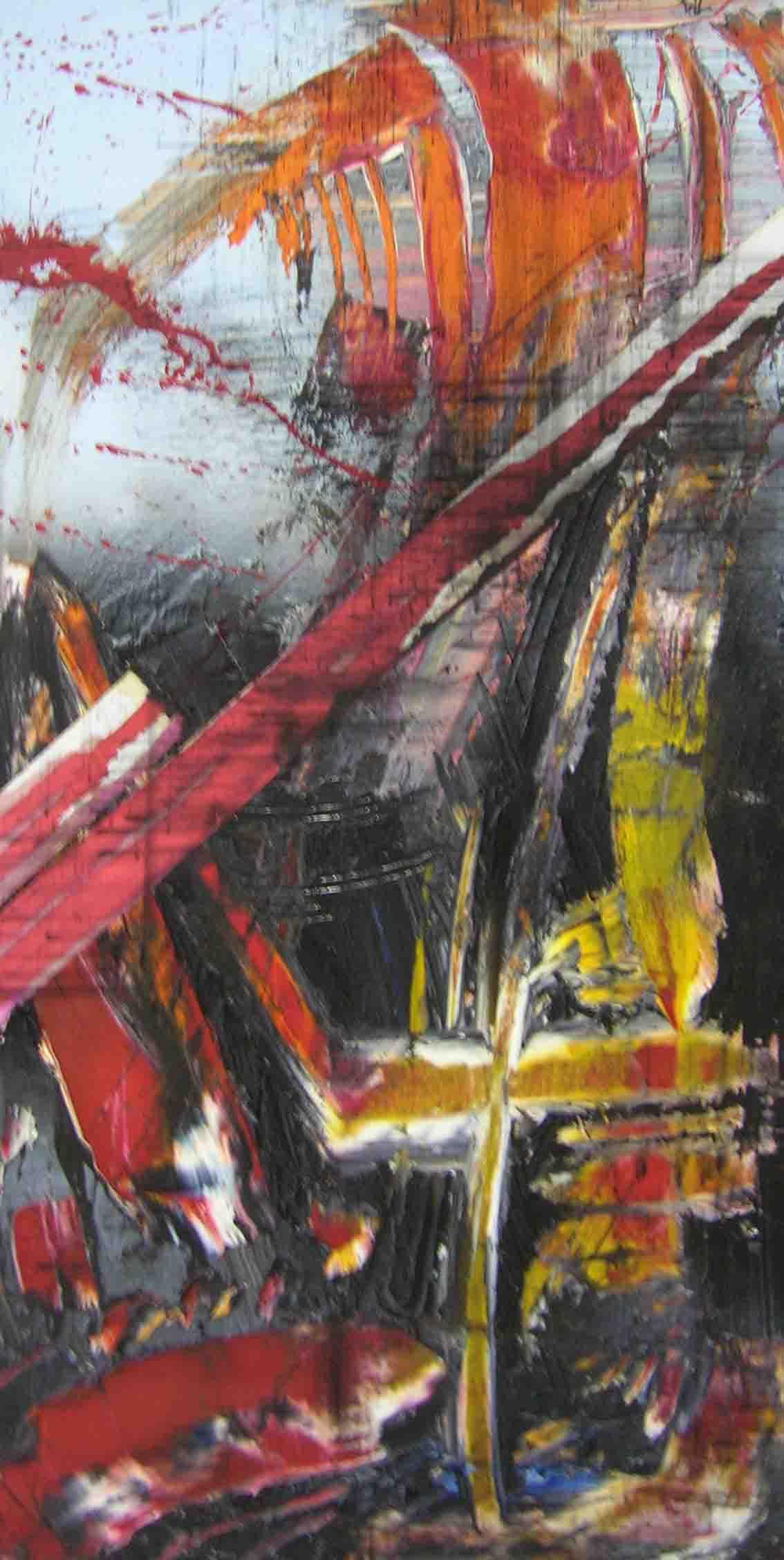 tableau abstrait par dessus la rembarde en rouge et jaune