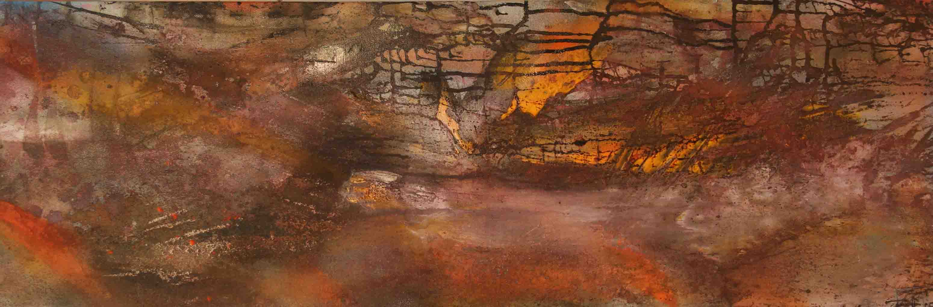 tableau abstrait perturbation de pensée en marron et jaune