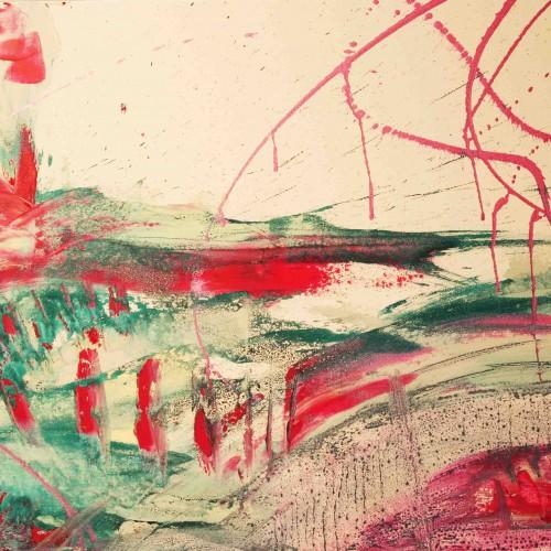 tableau abstrait plénitude désertique en rose et turquoise