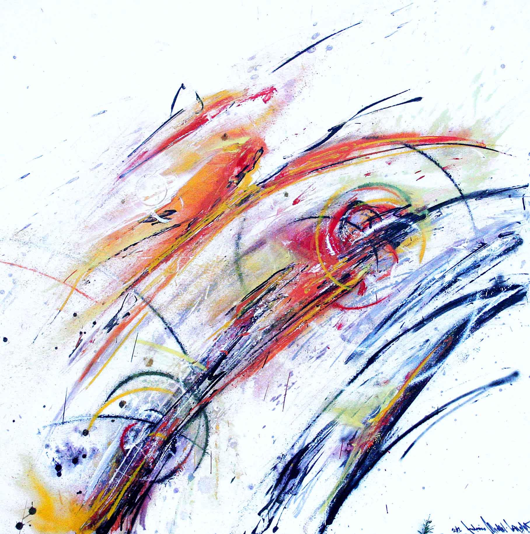tableau abstrait decoratif avec des couleurs rouges vertes et blanche
