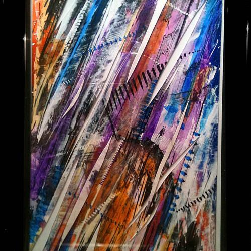 petit tableau rasoir abstrait en orange bleu et violet
