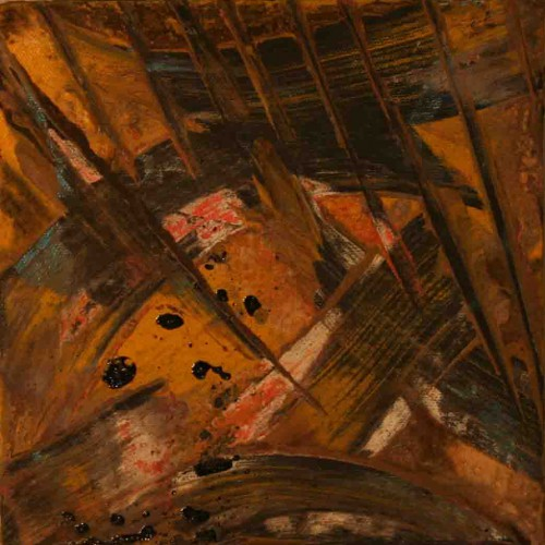 tableau abstrait recherche de soi meme en beige et marron