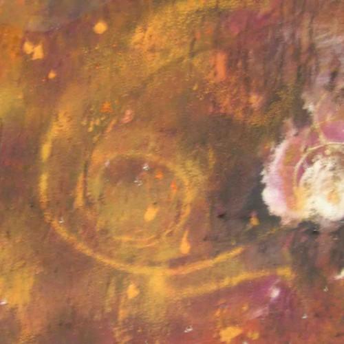 tableau abstrait reflexion galactique en jaune et violet