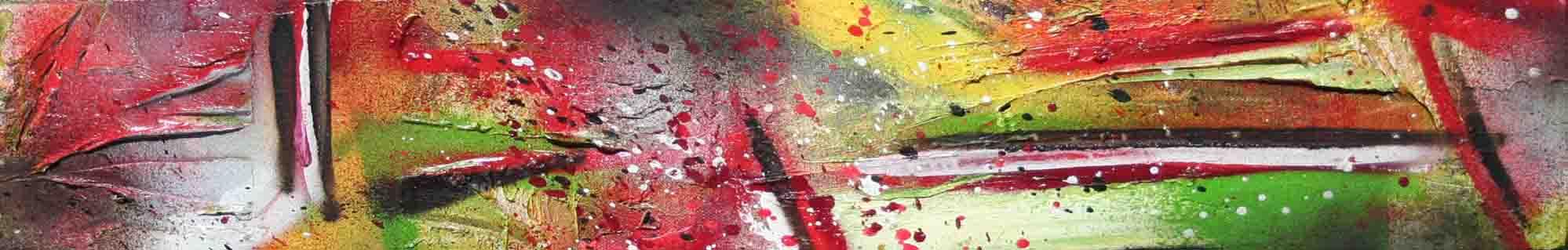 tryptique abstrait renaissance en blanc vert rouge noir et jaune