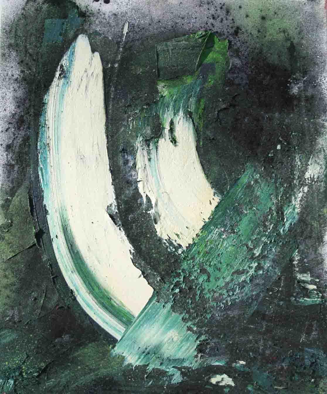 tableau abstrait en blanc, vert et noir