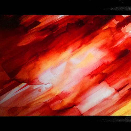 petit tableau abstrait decoratif rouge et jaune