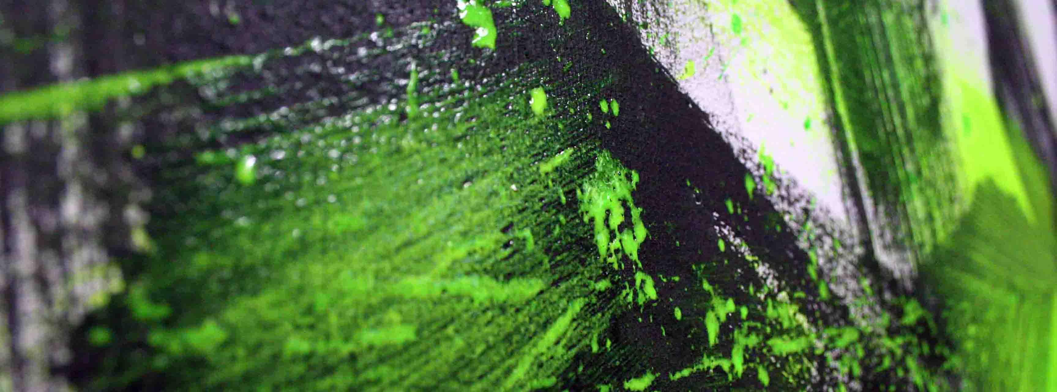tableau d'abstrait noir vert et blanc