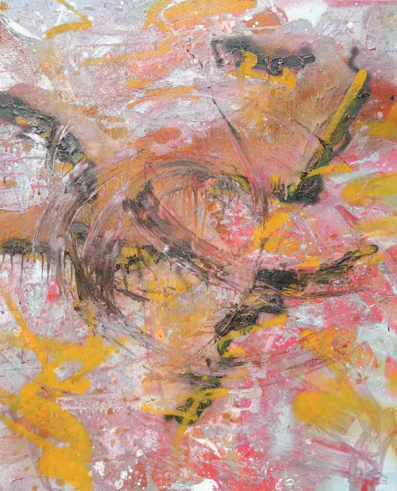 tableau abstrait en jaune, en argent et en rouge