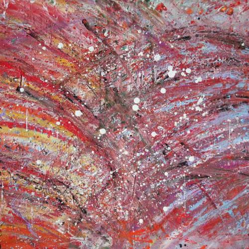 tableau abstrait subermergée d'émotions en bleu et rouge
