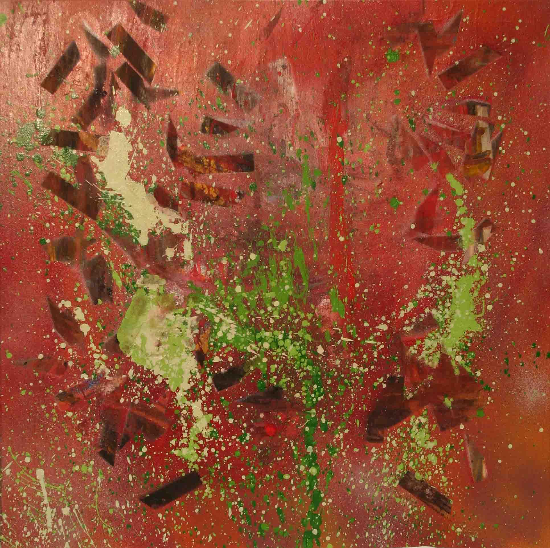 tableau abstrait thoracique en mauve et vert