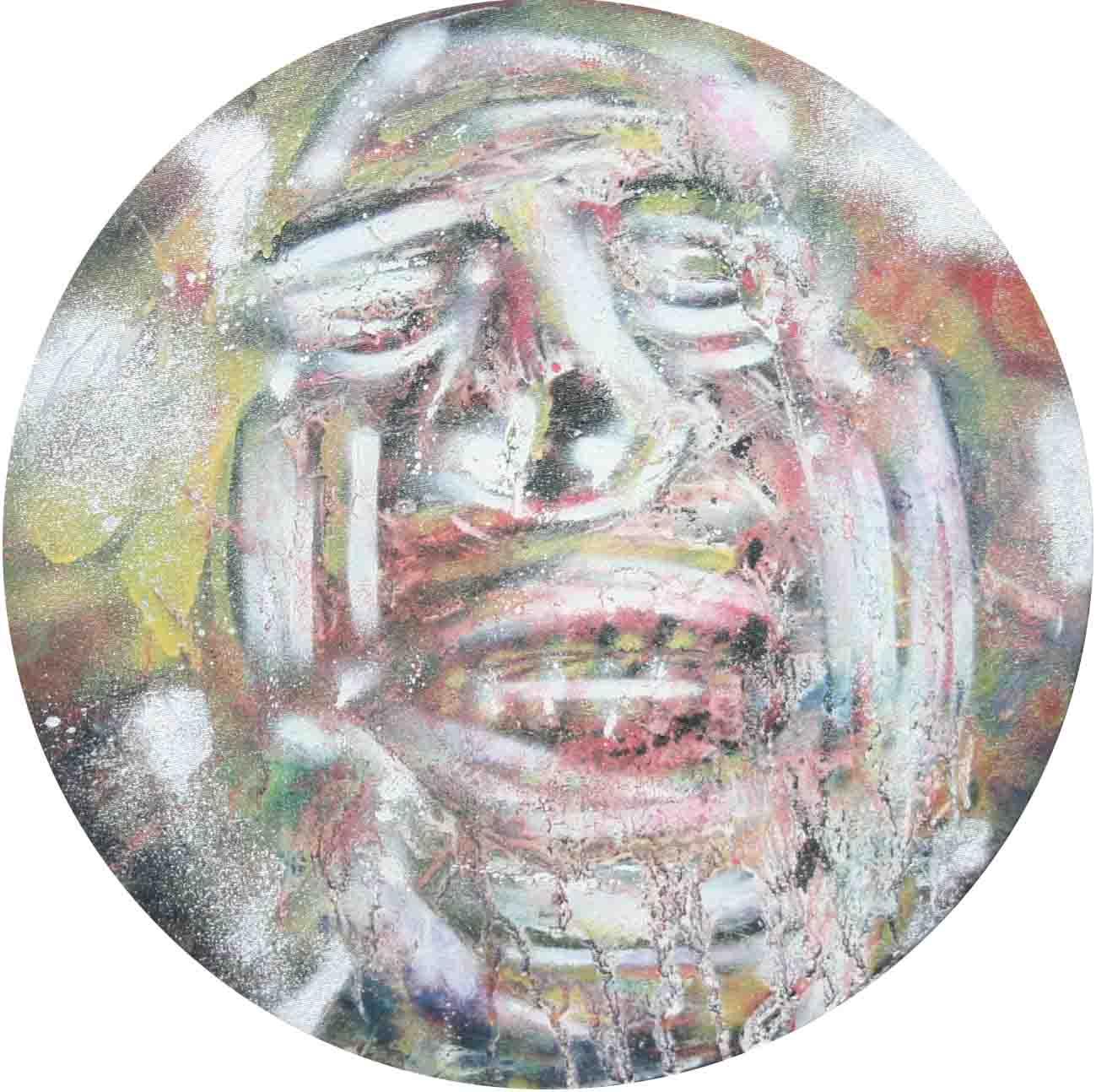 tableau abstrait totem en rouge et blanc
