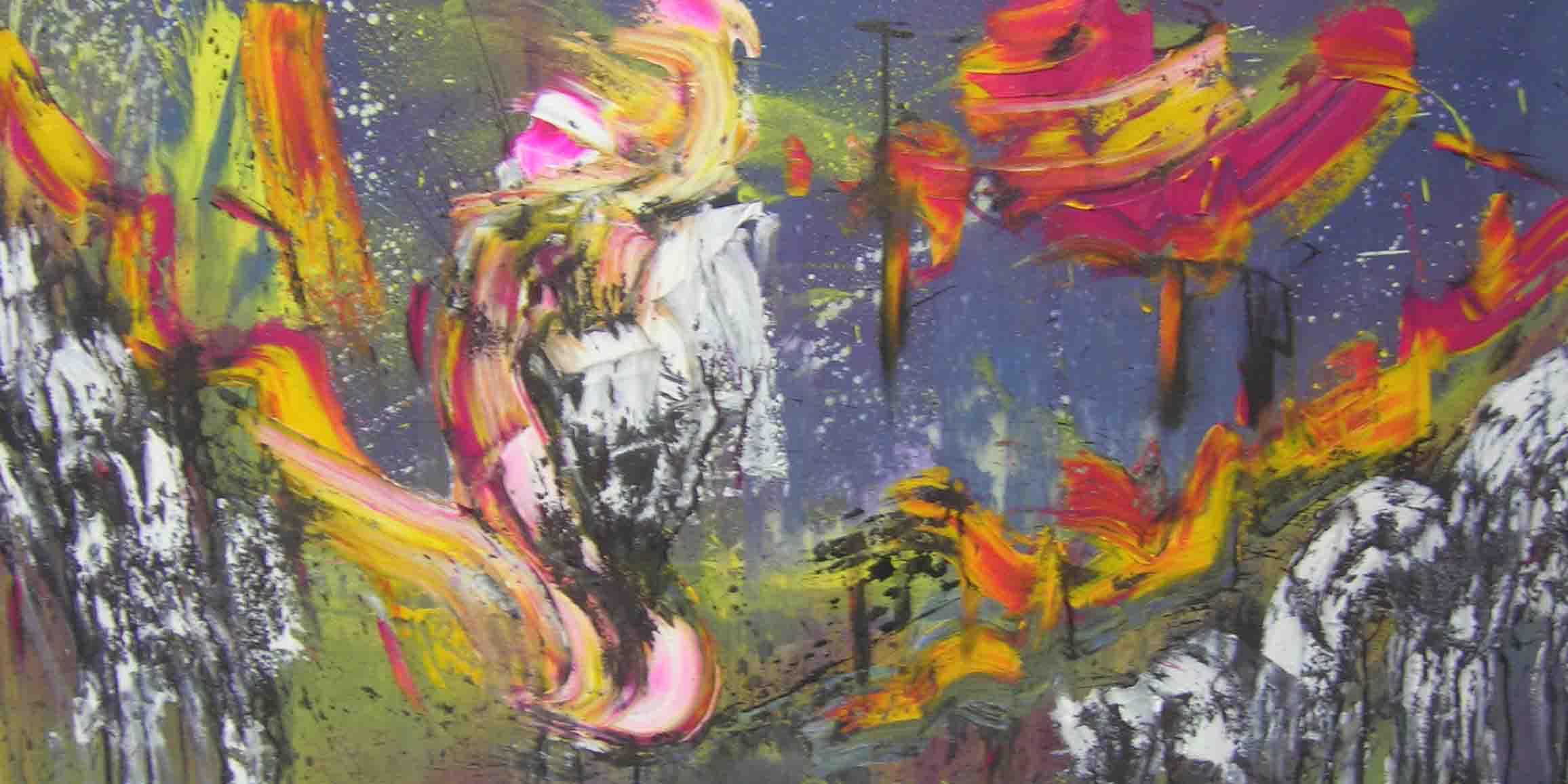 tableau abstrait tumulte continus en rose et jaune
