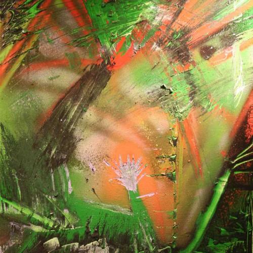 tableau abstrait tumultes en vert et rouge