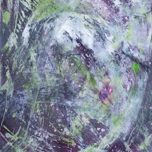 tableau abstrait un cri sourd en violet et vert