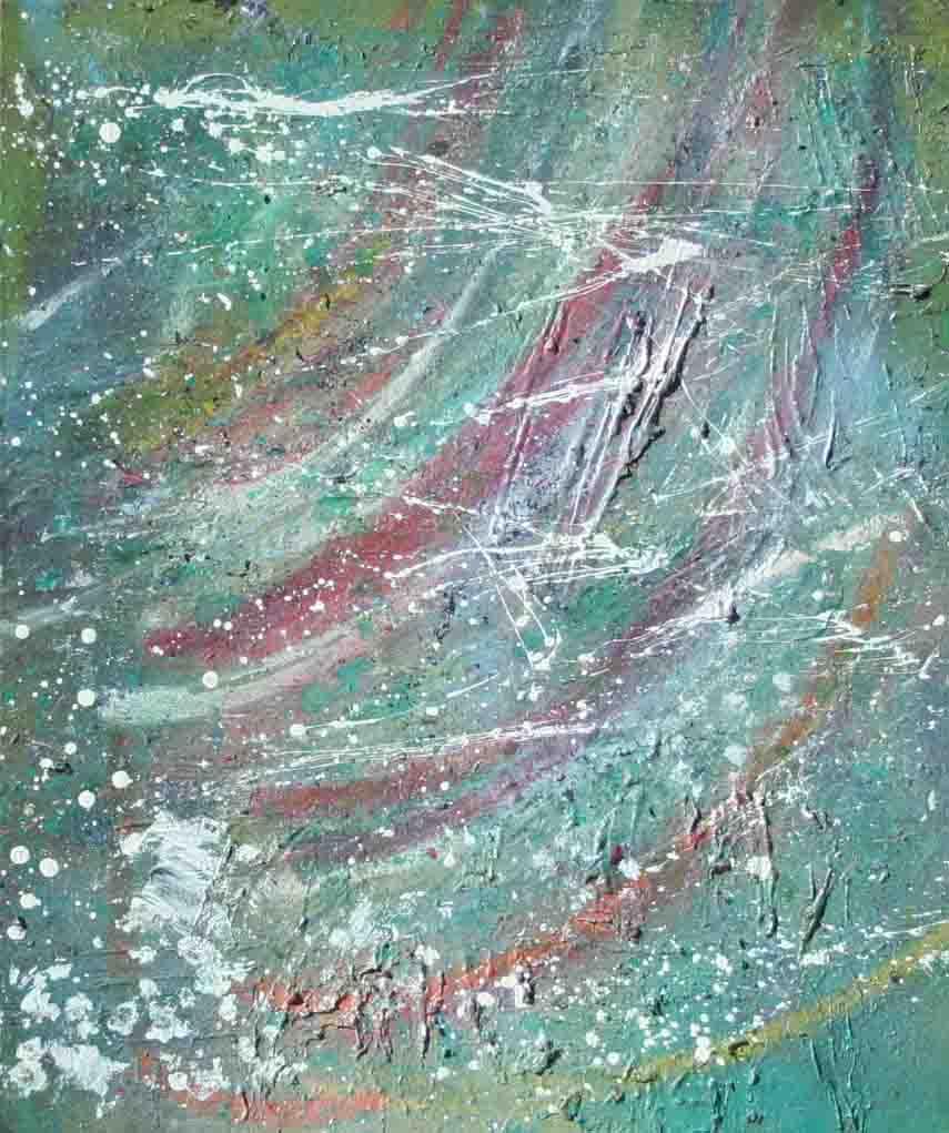 tableau abstrait vdm en vert et blanc
