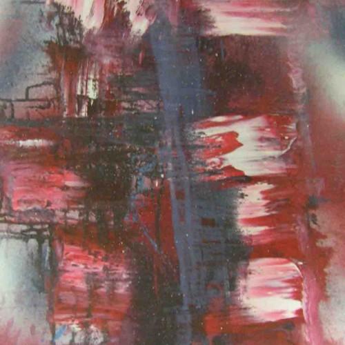 tableau abstrait ville submergée en rouge et bleu foncé