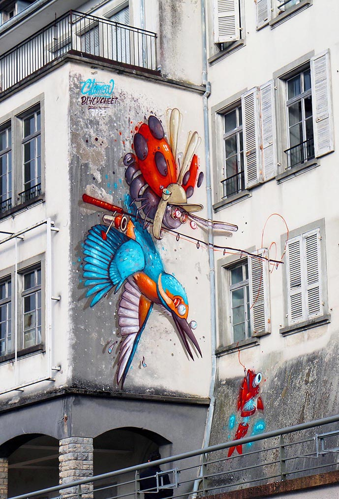 fresque de stom500 à altkirch en alsace pendant le festival le court