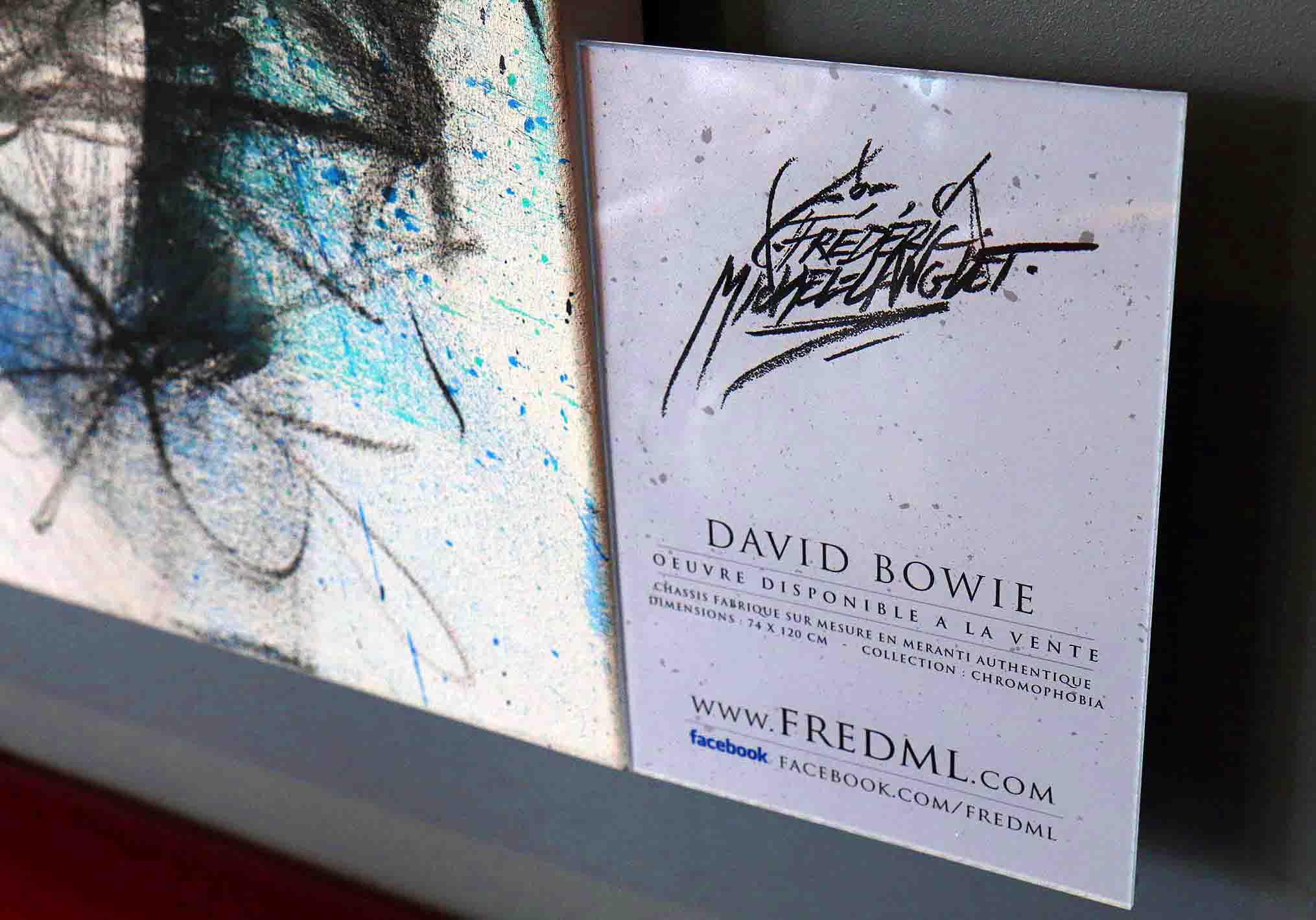 plaquette de présentation du portrait de david bowie à l'expositions histoire 2 à chantilly