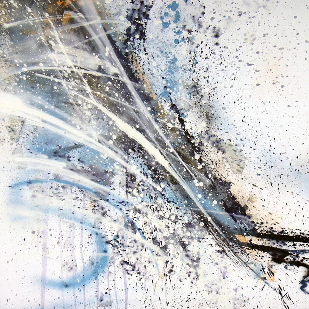 tableau abstrait decoratif blanc bleu et orangé