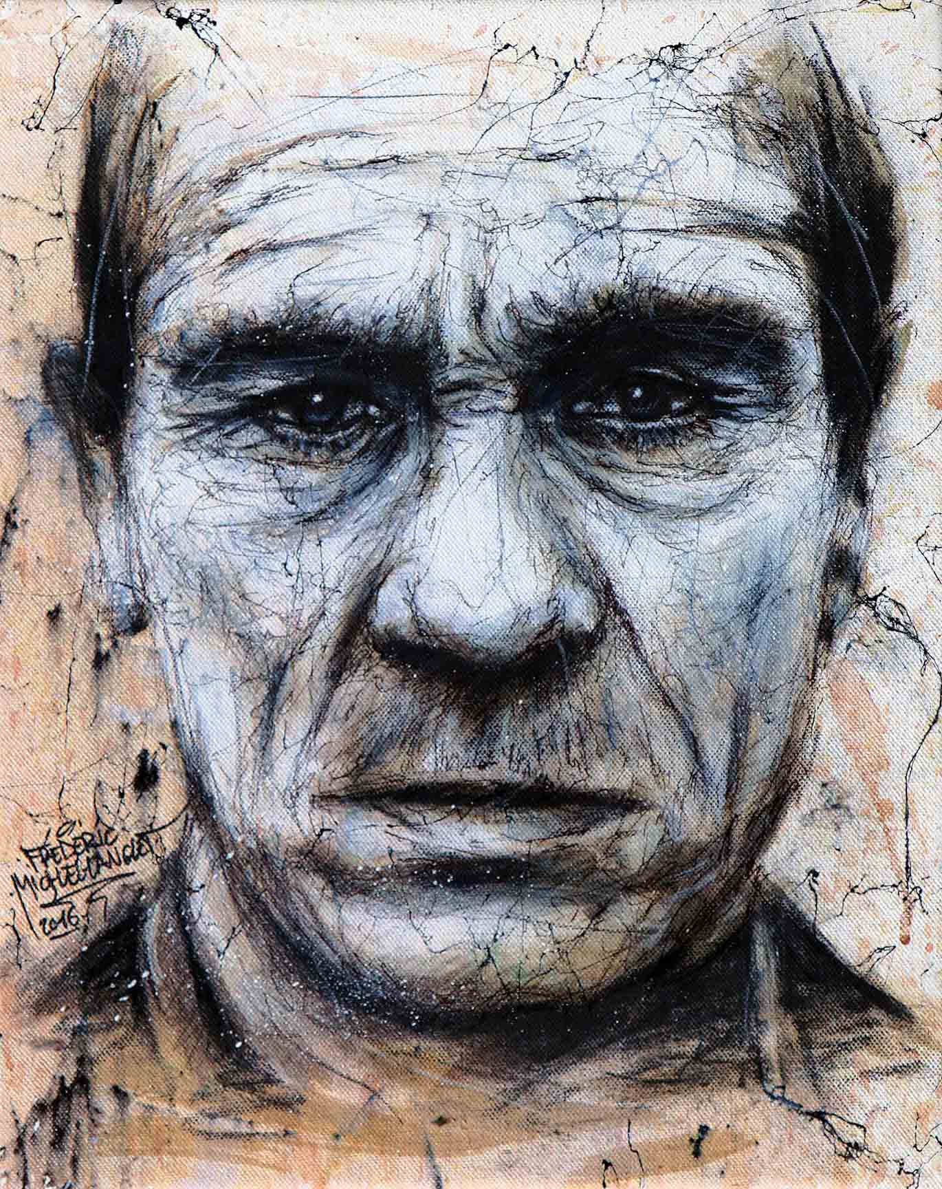 portrait de l'acteur tommy lee jones de la collection marbre