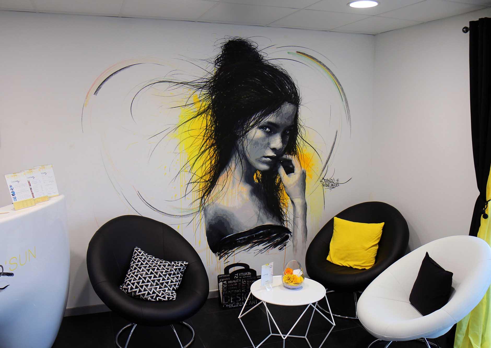 Fresque du cabinet DERMO'sun réalisée par frédéric michel-langlet