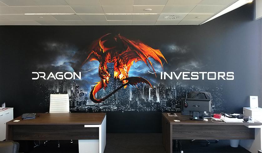 Photo de la fresque réalisée par frédéric michel-langlet (fredml) à barcelone dans les bureaux de dragon investors