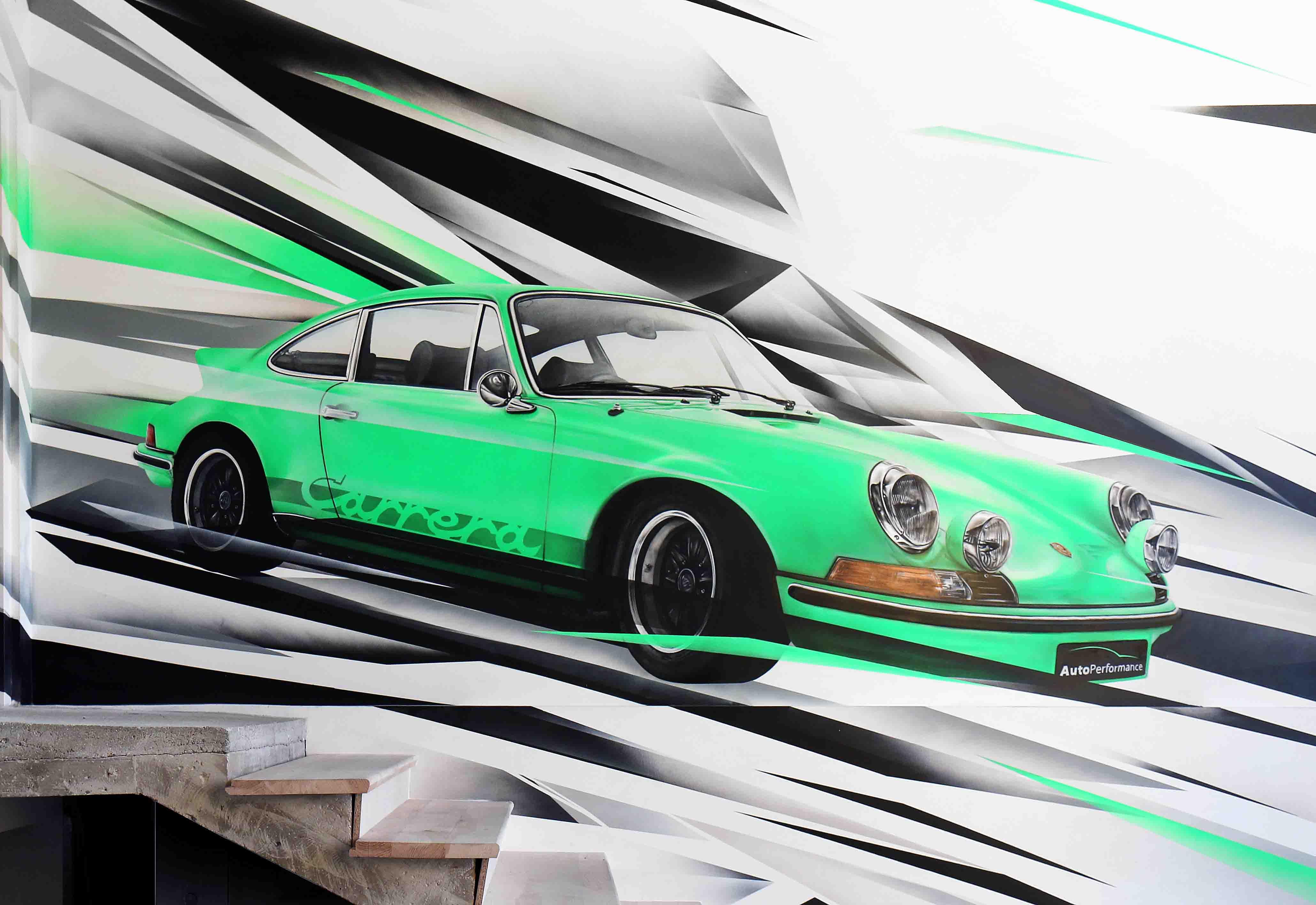 fresque porsche gt rs 2,7l carrera d'autoperformance 60 à compiègne réalisée par frederic michel langlet fresque sur mesure