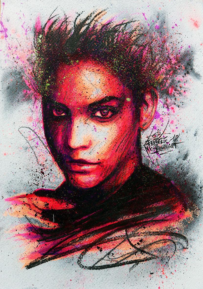 Portrait rose violet chaleur de barbara palvin de la collection stellar de frederic michel langlet fredml