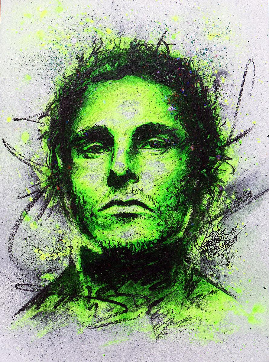 Portrait vert egotism de christian bale de la collection stellar de frederic michel langlet fredml