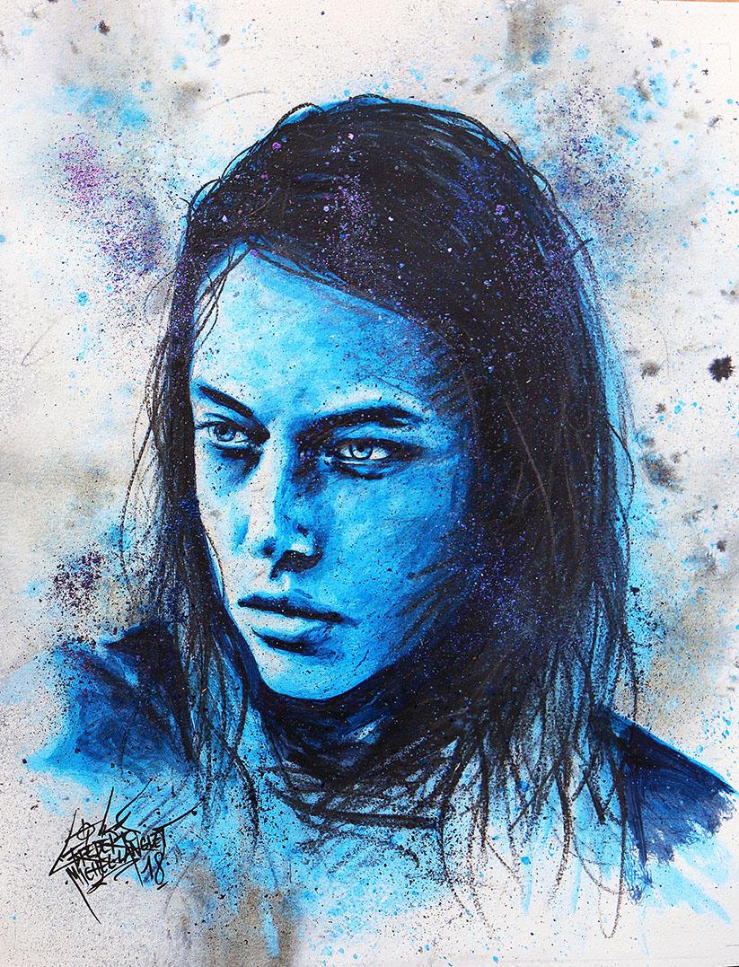 Portrait bleu glacial de hannah ferguson de la collection stellar de frederic michel langlet fredml