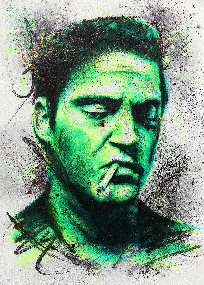Portrait vert turquoise forgiveness de joaquin phoenix de la collection stellar de frederic michel langlet fredml