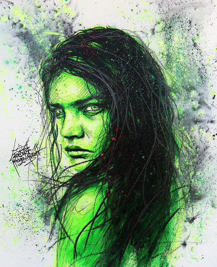 Portrait vert jaune fluo bad memories de natalia vodianova de la collection stellar de frederic michel langlet fredml