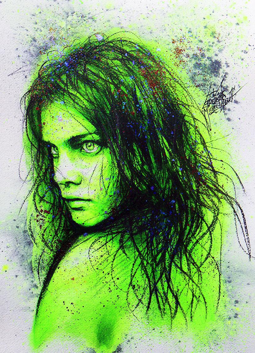 Portrait vert jaune erratum de natalia vodianova de la collection stellar de frederic michel langlet fredml