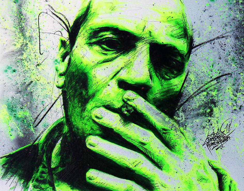 Portrait vert jaune fluo violence de tcheky kario de la collection stellar de frederic michel langlet fredml