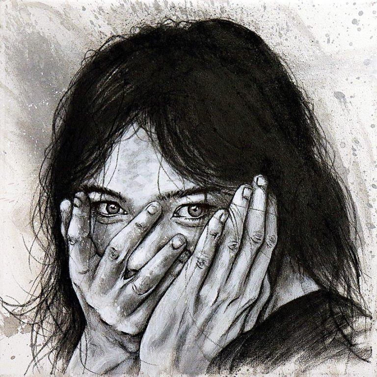 Tableau Panique de Björk de la collection GRIS de l'artiste frédéric michel langlet réalisée au fusain et à l'acrylique