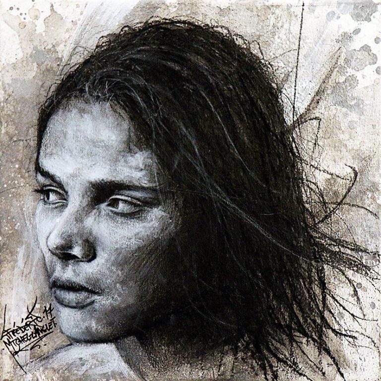 Tableau Evasion de la collection GRIS de l'artiste frédéric michel langlet réalisée au fusain et à l'acrylique