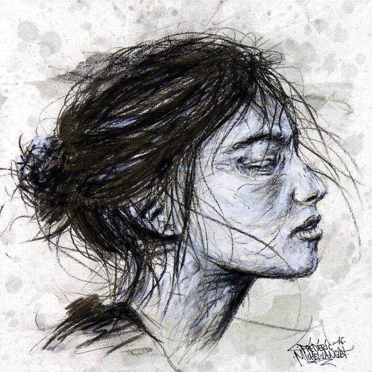 Tableau Séisme de Alexandra agoston de la collection GRIS de l'artiste frédéric michel langlet réalisée au fusain et à l'acrylique